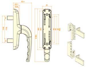 Maniglia cremonese meccanismo boiserie in ceramica per bagno - Meccanismo cremonese finestra ...